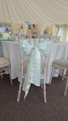 Aqua coloured wedding - cheltenham chairs with satin & organza sashes - Osmaston Park - Whyte Weddings Venue Styling Wedding Events, Weddings, Aqua Color, Chair Covers, Nottingham, Wedding Decorations, Chairs, Sunday, Satin