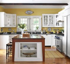 10 Outstanding Tips AND Tricks: Kitchen Remodel Design mid century kitchen remodel diy.Inexpensive Kitchen Remodel Home Improvements kitchen remodel layout stove.Kitchen Remodel On A Budget Cabinets. Kitchen Cabinet Colors, White Kitchen Cabinets, Painting Kitchen Cabinets, Kitchen Paint, Kitchen Colors, New Kitchen, Kitchen Yellow, Mustard Kitchen, Yellow Kitchens