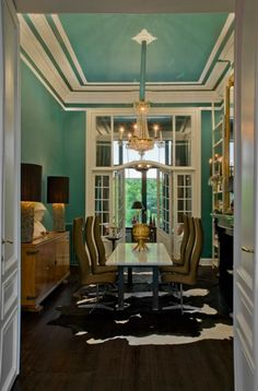 Unusual to have color on the ceiling, but it looks nice, seperated by the white molding... http://www.bathroom-paint.net/bathroom-paint-color.php