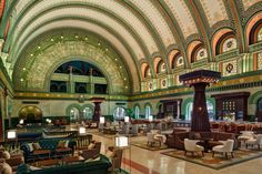 The crown jewel of St. Louis Station is the Grand Hall, with its sweeping archways, fresco and gold leaf detailing, mosaics and art glass windows.