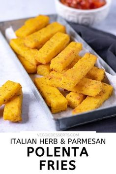 You'll love these irresistible Polenta Fries! They're full of flavor from Italian herbs and are baked so they get crispy on the outside and wonderfully soft inside. Perfect as a super-easy side dish or appetizer.