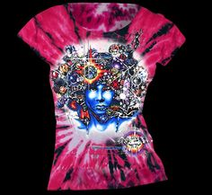 Door Ways Inspired by Jim Morrison Tie Dye T-shirt Womens Magenta
