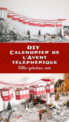 DIY calendar of the original cable car advent. Handmade Christmas Decorations, Christmas Tree Toppers, Christmas Tree Village, Christmas Craft Show, Diy Advent Calendar, Christmas Wonderland, Christmas Wallpaper, Calendrier Diy, Homemade Slime