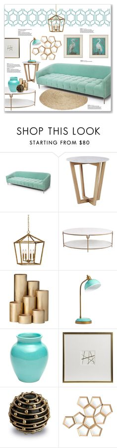 """Gold & Mint Living Room"" by kellylynne68 ❤ liked on Polyvore featuring interior, interiors, interior design, home, home decor, interior decorating, Mint Velvet, Millennium Lighting, Global Views and ferm LIVING"