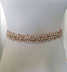 Rose Gold Wedding Belt, Rose Gold Bridal Belt, Gold Bridal Belt, Gold Bridal Sash Belt - Style 278