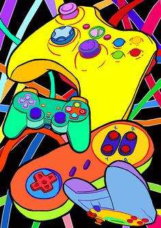Game controllers as : Video Game Cakes, Video Game Rooms, Video Game Art, Sleeping Drawing, Skateboard Deck Art, Video Game Posters, Best Gaming Wallpapers, Japon Illustration, Retro Video Games