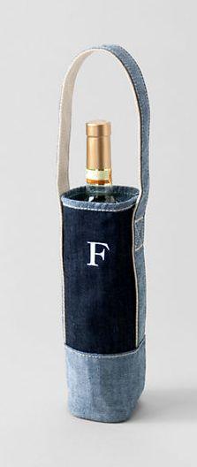 Personalized wine tote.