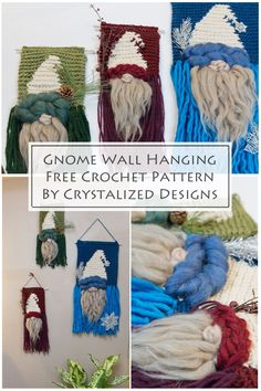 I have been a gnome collector for years! Actually, a Tomte is what hooked me (pun intended!). A Tomte is a Scandinavian mythical gnome, and I fell in love with the first one I saw. If you love tomtes or gnomes as much as I do, you're going to fall in love with this Gnome Hanging Crochet Pattern! Crochet Christmas Gifts, Crochet Gifts, Crochet Yarn, Free Crochet, Crochet Potholders, Crochet Decoration, Crochet Home Decor, Crochet Designs, Knitting Designs