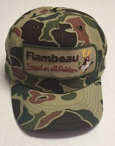 2cd01c4e748 Vtg Flambeau Trucker Hat Rugged as All Outdoors Deer Duck Med Large Hunting  Camo
