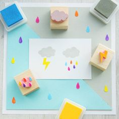Rain Cloud Hand Carved Rubber Stamp Set by Skull and Cross Buns