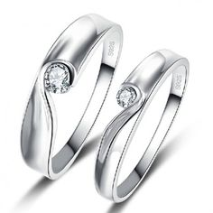 $55.95-Matching Heart White Gold Plated 925 Sterling Silver Rings For Couple