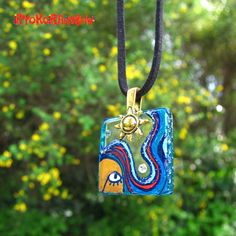 Funky  glass tile pendant, ORIGINAL hand painted lady with blue hair on Etsy, $24.99