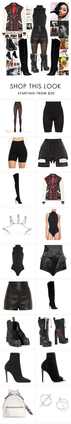 """OOTD: Tweed #EveryShadeIsWinning"" by momo-536 ❤ liked on Polyvore featuring SPANX, Zhenzi, E L L E R Y, Gianvito Rossi, Junya Watanabe, Yeprem, Commando, Balenciaga, Miu Miu and Dr. Martens"