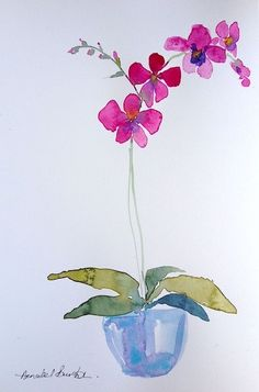 Signed Original Watercolour Painting -Pink Orchid - by Annabel Burton