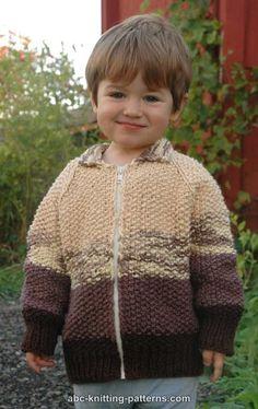 ABC Knitting Patterns - The Dapper Zippered Jacket Knitting Patterns Boys, Knitting For Kids, Free Knitting, Baby Knitting, Crochet Patterns, Knitting Projects, Single Crochet Stitch, Basic Crochet Stitches, Knit Crochet