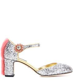 67a12fc45f6f mytheresa.com - Mink fur-trimmed glitter pumps - Dolce and Gabbana http