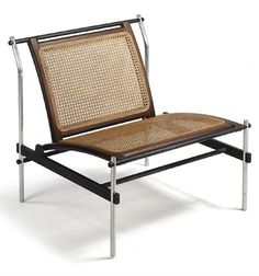 Maurice Martine; Aluminum, Laminated Rosewood and Cane Lounge Chair, 1960s.