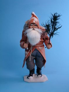13,5 inch Paper mache *Walking German Santa* candy container by Paul Turner studio