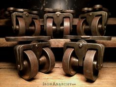 Image of Antique Iron Double Wheel Table Casters