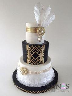 My Fave Great Gatsby Art Deco Cake Ever - Cake by Irina - Ennas' Cake Design Great Gatsby Cake, Great Gatsby Wedding, Flapper Wedding, Great Gatsby Themed Party, Wedding Ideas, Great Gatsby Invitation, Great Gatsby Party Decorations, Gatsby Wedding Dress, Speakeasy Wedding