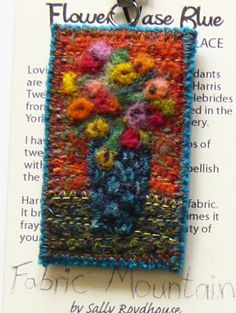 SALE - Harris Tweed, fibre art, felted, Old Masters flower necklace