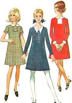 1960s Dress Pattern Simplicity 7852 Mod A Line by paneenjerez, $16.00