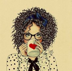 Coffee first, work second Black Girl Art, Black Women Art, Art Girl, Curly Hair Drawing, Sketch Style, Girly M, Natural Hair Art, Black Art Pictures, Black Artwork