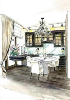 interior design color sketches - Google Search