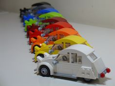 I find this quite amusing, a row a different coloured Lego Citoren 2cv's.