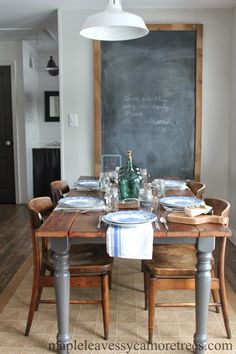 Maple Leaves & Sycamore Trees: DIY Barnwood Table....legs-Benjamin Moore Kendall Charcoal