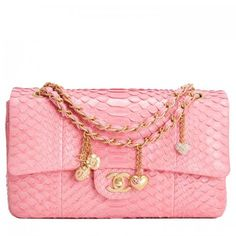 Chanel Pink Python Large Charm Flap Bag Image 1