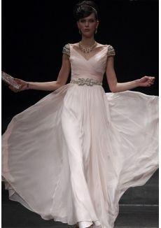 Beaded A Line V Neck Floor Length Chiffon Evening Prom Dresses