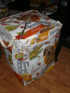 Hamper with lid -- Recycled Feed Bags--would be great for traveling to shows and collecting dirty laundry
