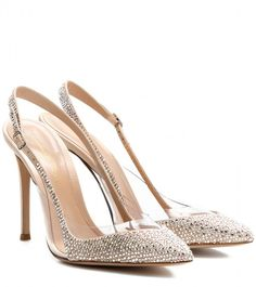 Gianvito Rossi Crystal-embellished satin and transparent pumps