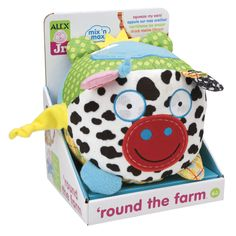 What's happening 'Round the Farm? Learning motor skills, cause and effect, new sounds and having fun, that's what! Press each animal's right ear to hear them talk. Bark! Meow! Oink! Ribbit!  #baby #toys
