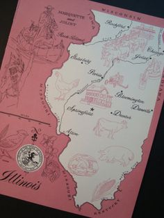 Pink Map of Illinois Vintage Original Print Number by iowajewel