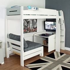 Purchase a Urban Grey High Sleeper 1 at Room To Grow. We offer price match availability on the Urban Grey High Sleeper 1 & free delivery available Modern Bunk Beds, Cool Bunk Beds, Kids Bunk Beds, Childrens Bunk Beds, Kids Beds Diy, Girl Loft Beds, Unique Bunk Beds, Bunk Bed With Desk, Small Room Design