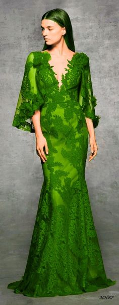 Green - Marchesa Pre-Fall 2018 - image pinned from marchesa.com