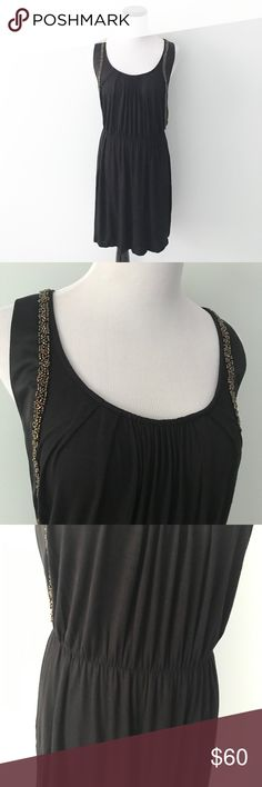 "ANTHROPOLOGIE One September black beaded Dress Gently worn. Black dress with bearded detailing around shoulders. Cinch waist with elastic. Length 36.5"". Chest 18"". Rayon and spandex. Anthropologie Dresses"