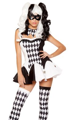 Devious Jester Costume, Black and White Clown Costume, Sexy Harlequin Costume Harley Quinn Halloween Costume, Clown Halloween Costumes, Jester Costume, Circus Costume, Mardi Gras Costumes, Halloween Kostüm, Girl Costumes, Circus Clown, Ladies Costumes