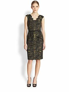 3fa46b75a3 David Meister - Cap-Sleeve Side-Peplum Dress