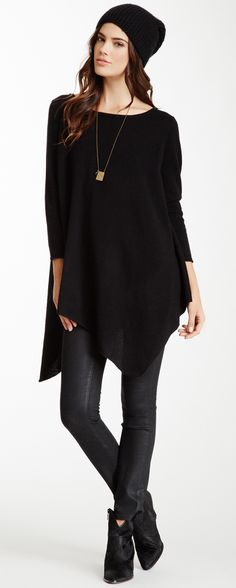 I'd put a more colorful necklace on with this outfit and nix the hat.  Love the slouchy ease of this. #MyVSFallEdit