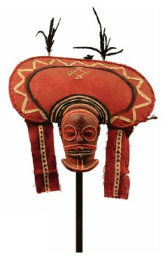 Africa | 'Cihango' mask from the Chokwe people of Angola | Fabric, fiber and pigment  || Source; page 209 ~ http://issuu.com/yahzoo/docs/african_art_-_maurice_delafosse
