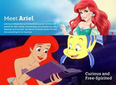 A description of Disney's Ariel from The Little Mermaid. Ariel is far from a passive damsel in distress but she remains reliant on the help of others (i.e. Ursula and her undersea friends) to achieve her goal of finding her prince.