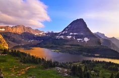 Hidden Lake and Bearhat Mountain in Glacier National Park - Last Light at Hidden Lake