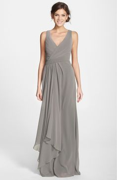 5ed6ab8c7541 Monique Lhuillier Bridesmaids Sleeveless V-Neck Chiffon Gown (Nordstrom  Exclusive) | Nordstrom. Formal ...