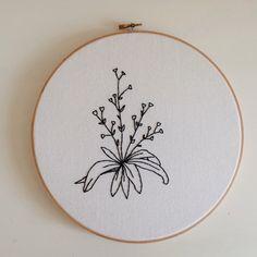 Large Botanical Minimalist Floral Embroidery Hoop Art