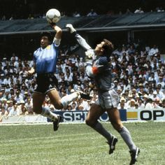 """The """"Hand of G-d,"""" one of the most controversial goals in soccer history, occurred when Maradona scored as a result of an illegal, but uncalled handball, in the quarterfinal match of the 1986 FIFA World Cup between England and Argentina. Soccer Skills, Soccer Tips, Retro Football, World Football, History Of Soccer, Diego Armando, Association Football, England Football, Sports Stars"""