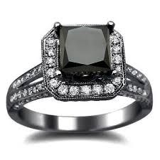 Black princess cut diamond engagement ring <3 perfect.