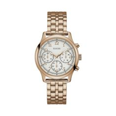 Delivering fashion and function in equal measure, this sporty yet sophisticated blue leather strap watch by Guess features a rich rose gold-plated stainless steel case and bold blue bezel. Watch Model, Metal Bands, Stainless Steel Case, Rose Gold Plates, Gold Watch, Gemstone Jewelry, Bracelet Watch, Quartz, Jewels